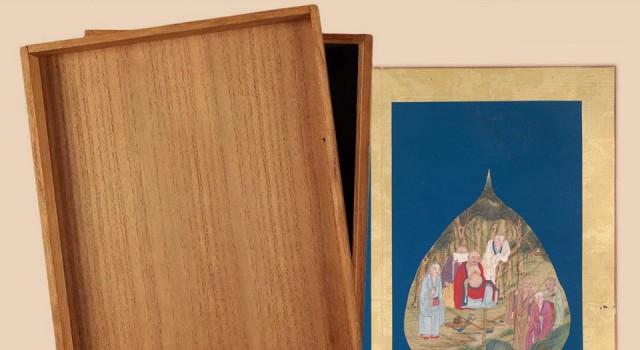菩提叶画十八罗汉图