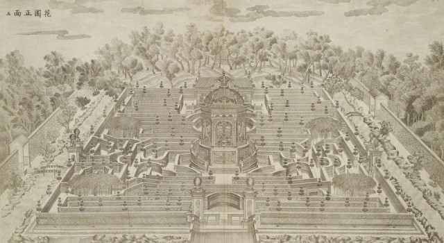 西洋楼透视图铜版画